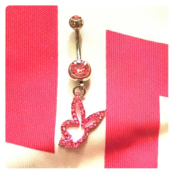 Pink Petite Playboy Bunny Cute Belly Button Ring